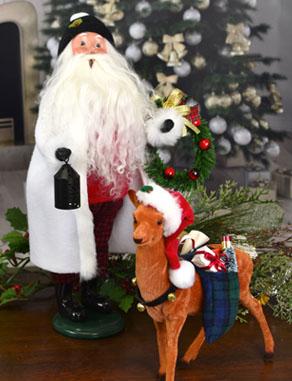 Santa with Lantern and Vintage Reindeer